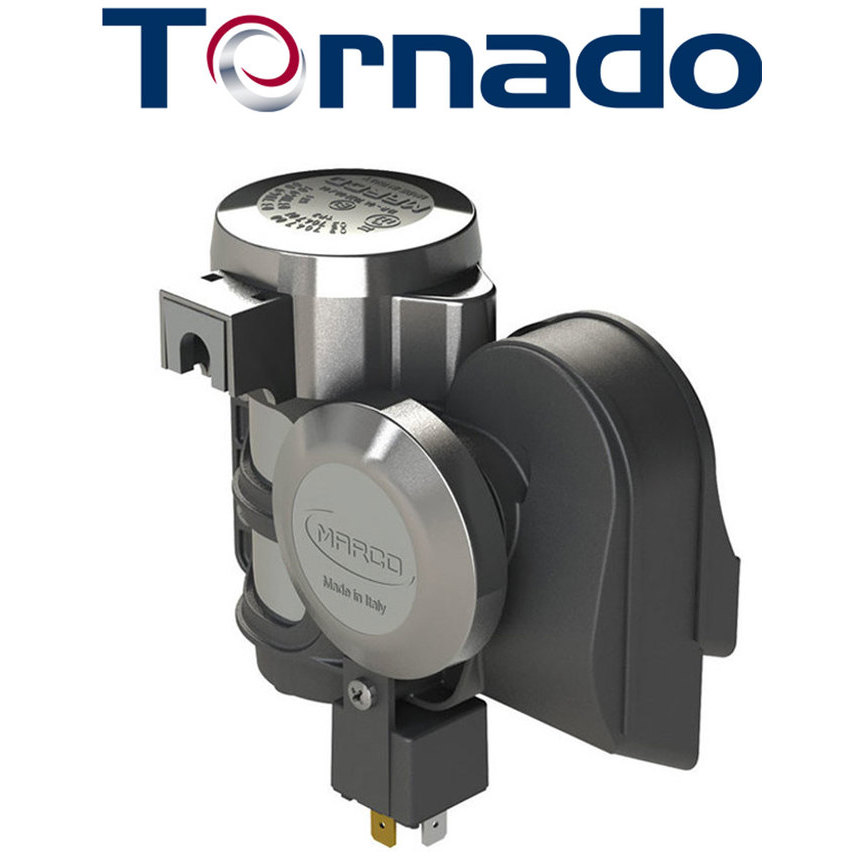TORNADO Compact chromed twin tone horn with compressor