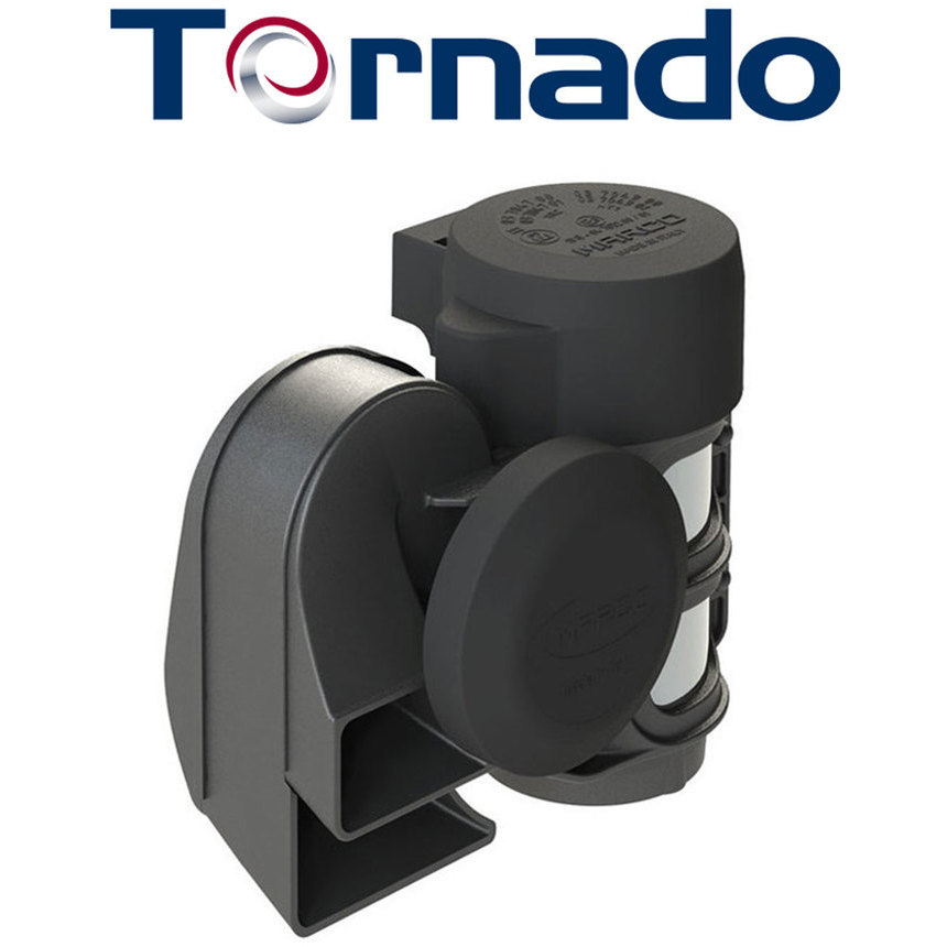 TORNADO Compact twin tone horn with integrated compressor